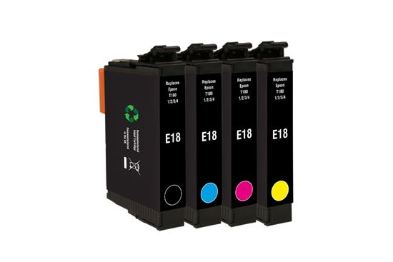 Picture of Red Bus Recycled Epson T1806 Black, Cyan, Magenta, Yellow Ink Cartridge Multipack