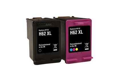 Picture of Red Bus Recycled HP 62XL Black & Colour Ink Cartridge Combo Pack