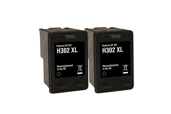 Picture of Red Bus Recycled HP 302XL Black Ink Cartridge Twin Pack
