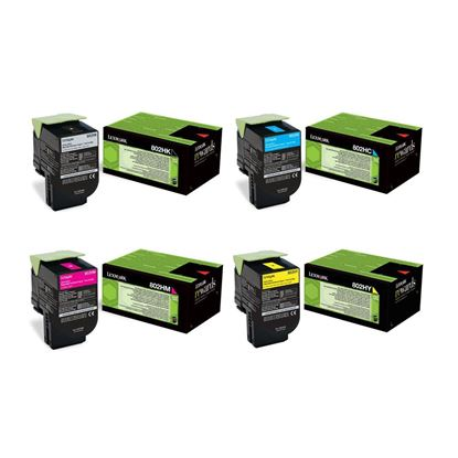 Picture of Lexmark 80C20H High Yield Black, Cyan, Magenta, Yellow Toner Cartridge Multipack (802H Laser Toner)