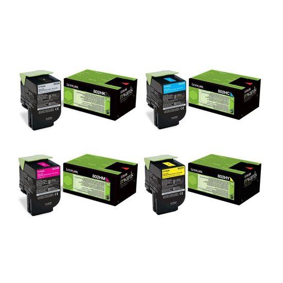 Picture of Lexmark 80C20H High Yield Black, Cyan, Magenta, Yellow Toner Cartridge Multipack (802H Laser Toner)