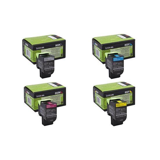 Picture of Lexmark 80C20 Black, Cyan, Magenta, Yellow Toner Cartridge Multipack (802 Laser Toner)