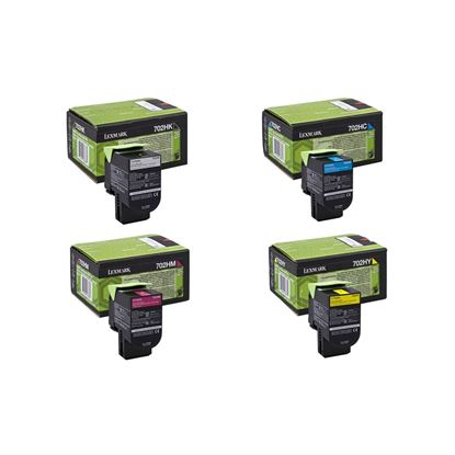 Picture of Lexmark 70C20H High Yield Black, Cyan, Magenta, Yellow Toner Cartridge Multipack (702H Laser Toner)