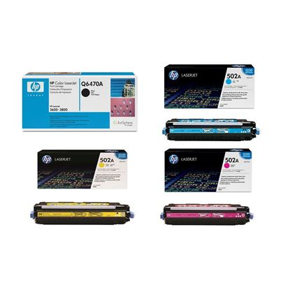 Picture of HP 501A Black, 502A Cyan, Magenta, Yellow Original Toner Cartridge Multipack (Q6470/1/2/3A Laser Toner)