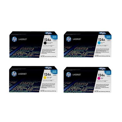 Picture of HP 124A Black, Cyan, Magenta, Yellow Original Toner Cartridge Multipack (Q6000/1/2/3A Laser Toner)