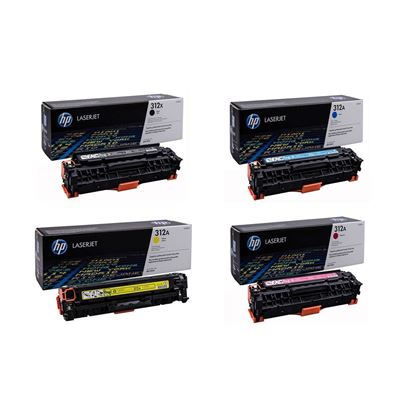 Picture of HP 312A/X Black, Cyan, Magenta, Yellow Original Toner Cartridge Multipack (CF380X/1/2/3A Laser Toner)