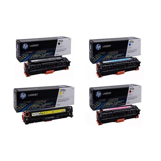 Picture of HP 312A/X Black, Cyan, Magenta, Yellow Original Toner Cartridge Multipack (CF380X/1/2/3A Laser Toner)