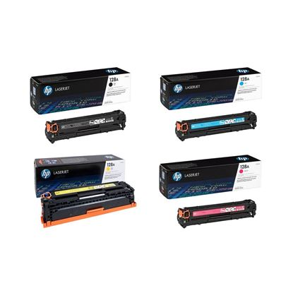 Picture of HP 128A Black, Cyan, Magenta, Yellow Original Toner Cartridge Multipack (CE320/1/2/3A Laser Toner)