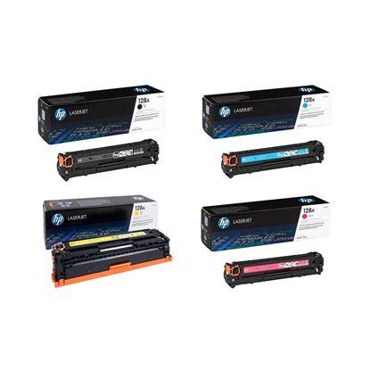 Picture of HP 128A Black, Cyan, Magenta, Yellow Original Toner Cartridge Multipack (CE320/1/2/3A Laser Toner)