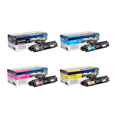Picture of Brother TN-326 High Yield Black, Cyan, Magenta, Yellow Original Toner Cartridge Multipack (TN326 Laser Toner)