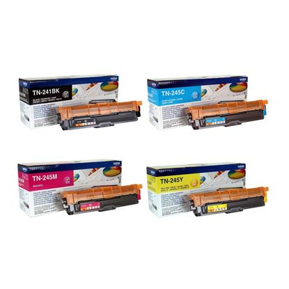 Picture of Brother TN-241 Black, TN-245 Cyan, Magenta, Yellow Original Toner Cartridge Multipack (TN241/245 Laser Toner)