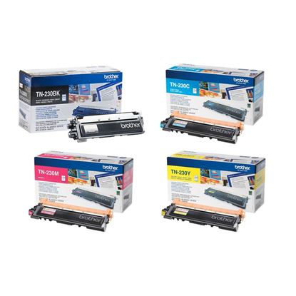 Picture of Brother TN-230 Black, Cyan, Magenta, Yellow Original Toner Cartridge Multipack (TN230 Laser Toner)