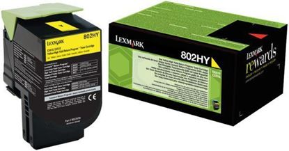 Picture of Lexmark 80C2HY0 High Yield Yellow Original Toner Cartridge (802HY Laser Toner)