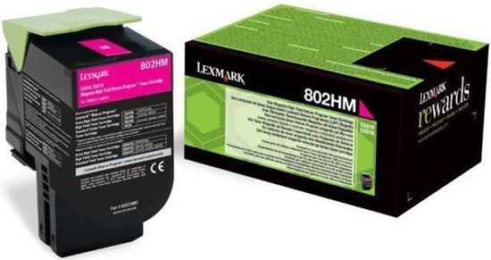 Picture of Lexmark 80C2HM0 High Yield Magenta Original Toner Cartridge (802HM Laser Toner)