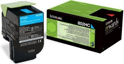 Picture of Lexmark 80C2HC0 High Yield Cyan Original Toner Cartridge (802HC Laser Toner)