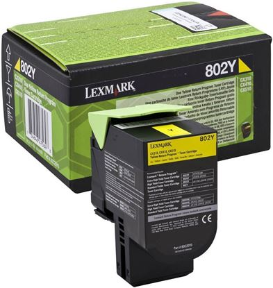 Picture of Lexmark 80C20Y0 Yellow Original Toner Cartridge (802Y Laser Toner)