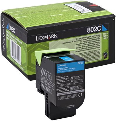 Picture of Lexmark 80C20C0 Cyan Original Toner Cartridge (802C Laser Toner)