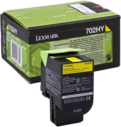 Picture of Lexmark 70C2HY0 High Yield Yellow Original Toner Cartridge (702HY Laser Toner)