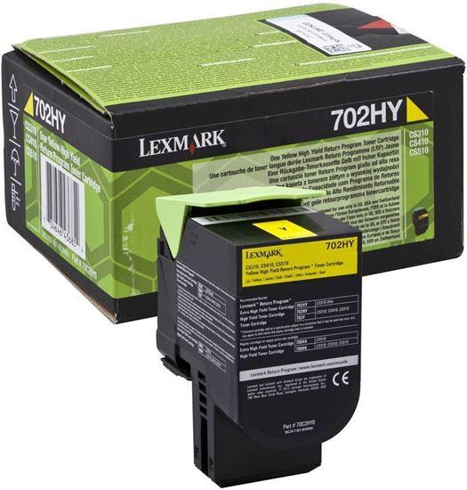 Picture of Lexmark 70C2HY0 High Yield Yellow Original Toner Cartridge (702HY Laser Toner)