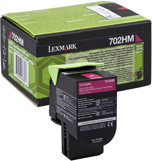 Picture of Lexmark 70C2HM0 High Yield Magenta Original Toner Cartridge (702HM Laser Toner)