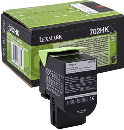Picture of Lexmark 70C2HK0 High Yield Black Original Toner Cartridge (702HK Laser Toner)