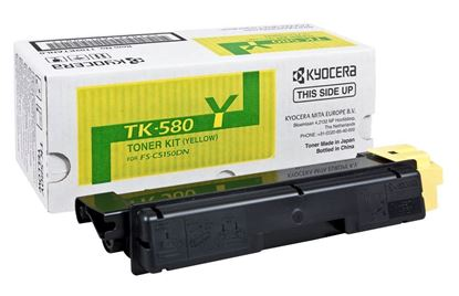 Picture of Kyocera TK-580Y Yellow Original Toner Cartridge (TK580Y Laser Toner)