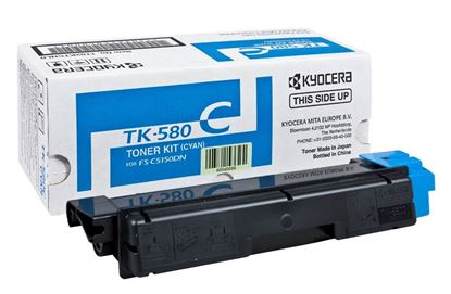 Picture of Kyocera TK-580C Cyan Original Toner Cartridge (TK580C Laser Toner)