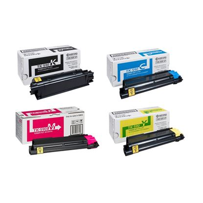 Picture of Kyocera TK-590 Black, Cyan, Magenta, Yellow Original Toner Cartridge Multipack (TK590 Laser Toner)
