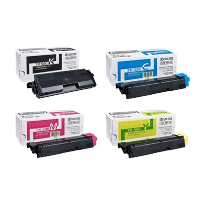 Picture of Kyocera TK-580 Black, Cyan, Magenta, Yellow Original Toner Cartridge Multipack (TK580 Laser Toner)
