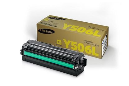 Picture of Samsung CLT-Y506L High Yield Yellow Original Toner Cartridge (CLT-Y506L/ELS Laser Toner)