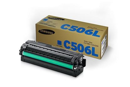 Picture of Samsung CLT-C506L High Yield Cyan Original Toner Cartridge (CLT-C506L/ELS Laser Toner)