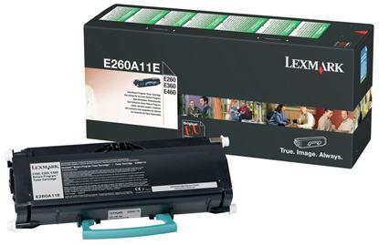 Picture of Lexmark E260A11E Black Original Toner Cartridge (E260A21E Laser Toner)