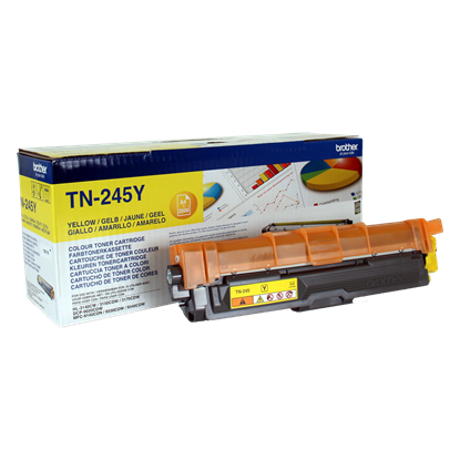 Picture of Brother TN-245Y High Yield Yellow Original Toner Cartridge (TN245Y Laser Toner)