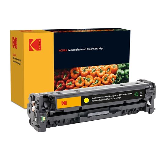 Picture of Kodak Replacement HP 304A Yellow (CC532A) Toner Cartridge