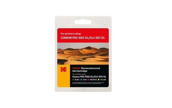 Picture of Kodak Replacement Canon PGI-550XL Black & CLI-551XL Black, Cyan, Magenta, Yellow Ink Cartridge Multipack