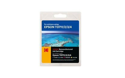 Picture of Kodak Replacement Epson T0715 Black, Cyan, Magenta, Yellow Ink Cartridge Multipack