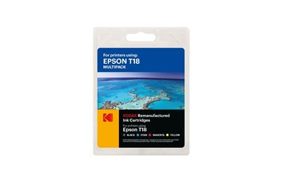 Picture of Kodak Replacement Epson T1806 Black, Cyan, Magenta & Yellow Ink Cartridge Multipack