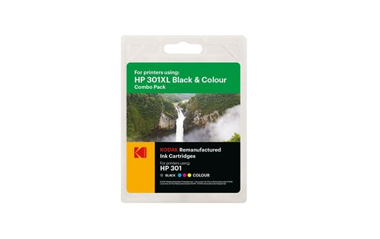 Picture of Kodak Replacement HP 301XL Black & Colour Ink Cartridge Combo Pack