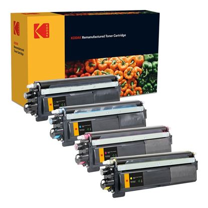 Picture of Kodak Replacement Brother TN-230 Black, Cyan, Magenta, Yellow Toner Cartridge Multipack