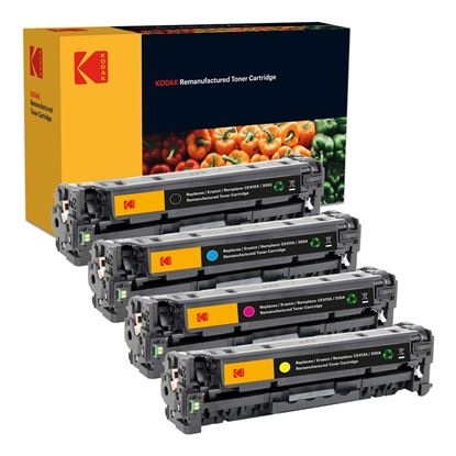 Picture of Kodak Replacement HP 305A/X Black, Cyan, Magenta, Yellow (CE410X/1/2/3A) Toner Cartridge Multipack