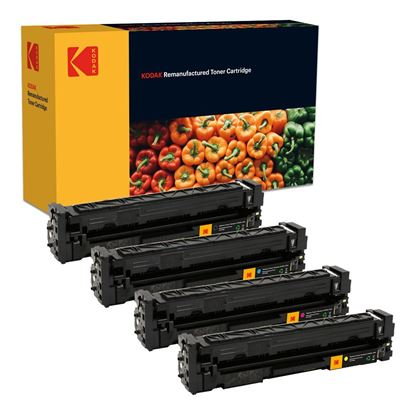 Picture of Kodak Replacement HP 201A Black, Cyan, Magenta, Yellow (CF400/1/2/3A) Toner Cartridge Multipack