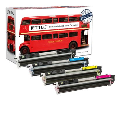 Picture of Red Bus Recycled HP 130A Black, Cyan, Magenta, Yellow (CF350/1/2/3A) Toner Cartridge Multipack