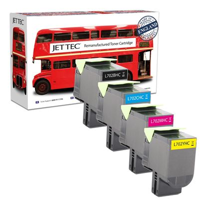 Picture of Red Bus Recycled Lexmark 70C20H High Yield Black, Cyan, Magenta, Yellow (702H) Toner Cartridge Multipack