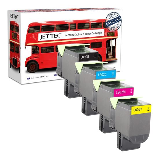 Picture of Red Bus Recycled Lexmark 80C20 Black, Cyan, Magenta, Yellow (802) Toner Cartridge Multipack
