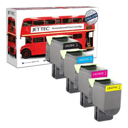 Picture of Red Bus Recycled Lexmark 80C20H High Yield Black, Cyan, Magenta, Yellow (802H) Toner Cartridge Multipack