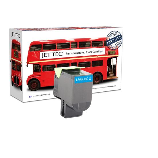 Picture of Red Bus Recycled Lexmark 70C2HC0 High Yield Cyan (702HC) Toner Cartridge