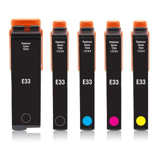 Picture of Red Bus Recycled Epson 33 Black, Cyan, Magenta, Yellow, Photo Black Ink Cartridge Multipack