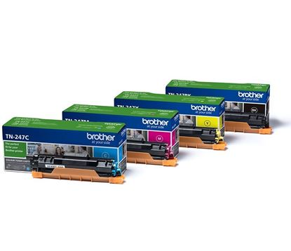 Picture of Brother TN-247 Black, Cyan, Magenta, Yellow Original Toner Cartridge Multipack (TN247 Laser Toner)