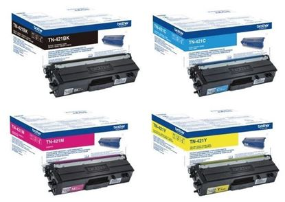 Picture of Brother TN-421 Black, Cyan, Magenta, Yellow Original Toner Cartridge Multipack (TN421 Laser Toner)