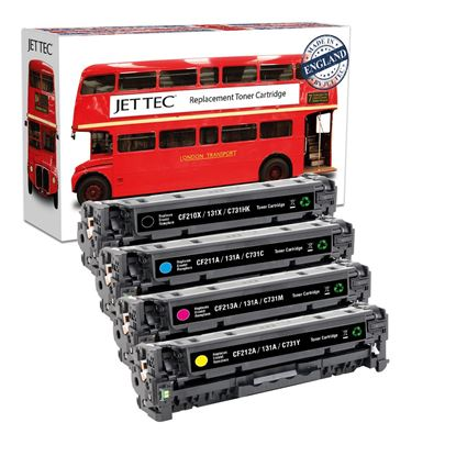 Picture of Red Bus Recycled HP 131A/X Black, Cyan, Magenta, Yellow (CF210X/1/2/3A) Toner Cartridge Multipack